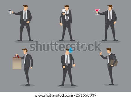 Vector illustration of businessman in front view and side profile with different props. Set of six cartoon characters isolated on grey background - stock vector
