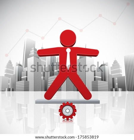 Vector illustration of businessman in the city.  - stock vector