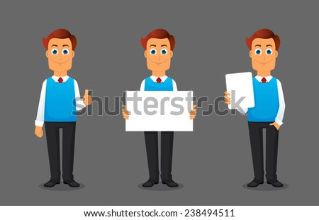 Vector illustration of Businessman in various poses - stock vector