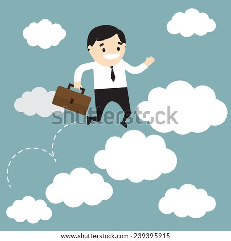 Vector illustration of  businessman jumping on clouds and holding the office bag. Business metaphor of career growth. Flat design - stock vector