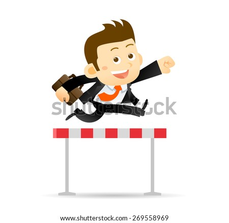 Vector illustration of Businessman jumps over the hurdle - stock vector