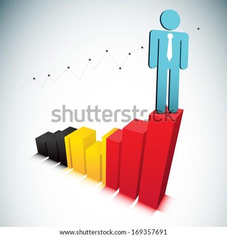 Vector illustration of businessman on Belgian graph. EPS10 file. Contains blending mode.  - stock vector