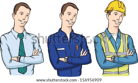 Vector illustration of businessman repairman and construction worker. Easy-edit layered vector EPS10 file scalable to any size without quality loss. High resolution raster JPG file is included. - stock vector