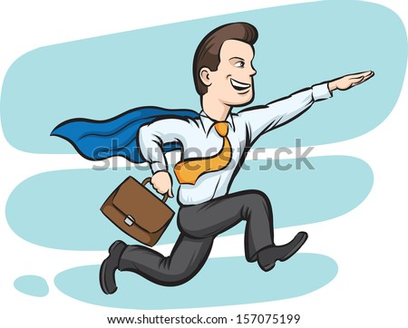 Vector illustration of Businessman running like superman. Easy-edit layered vector EPS10 file scalable to any size without quality loss. High resolution raster JPG file is included. - stock vector