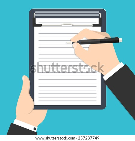 Vector illustration of businessman's hands holding clipboard and writing his report or resume for your design - stock vector