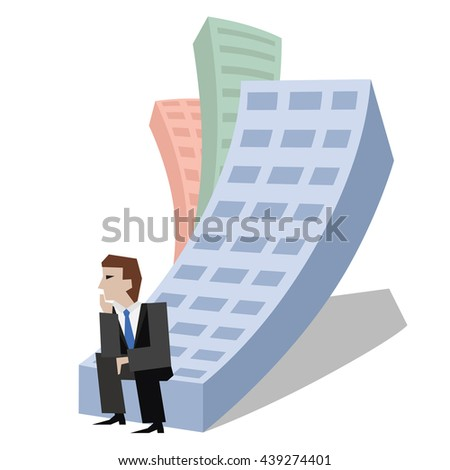 Vector illustration of businessman sitting on a house. Business concept the real estate market isolated on white background. - stock vector