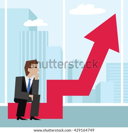 Vector illustration of businessman sitting on an arrow chart. Business concept. - stock vector