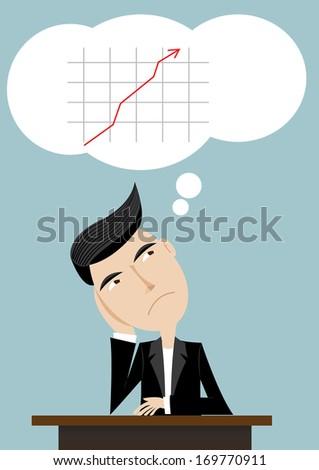 Vector illustration of businessman thinking share - stock vector