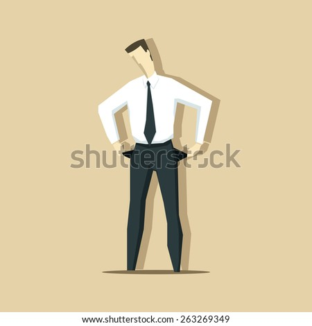 Vector illustration of businessman with empty pockets. Crisis concept. - stock vector