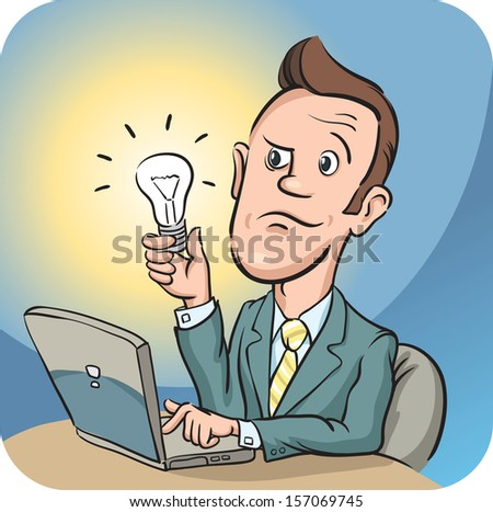 Vector illustration of Businessman with laptop computer holding bulb. Easy-edit layered vector EPS10 file scalable to any size without quality loss. High resolution raster JPG file is included. - stock vector
