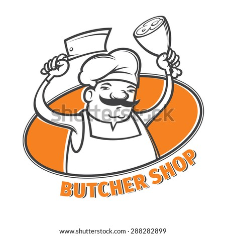 vector illustration of butcher with  meat cleaver - stock vector