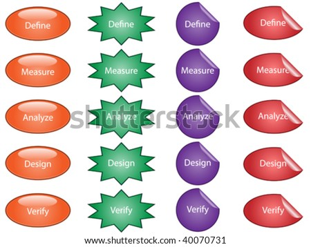 Vector illustration of buttons and stickers used for process improvement.