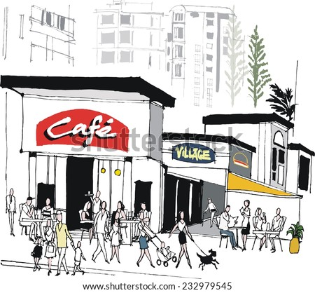 Vector illustration of cafe scene with buildings, restaurant diners and pedestrians - stock vector