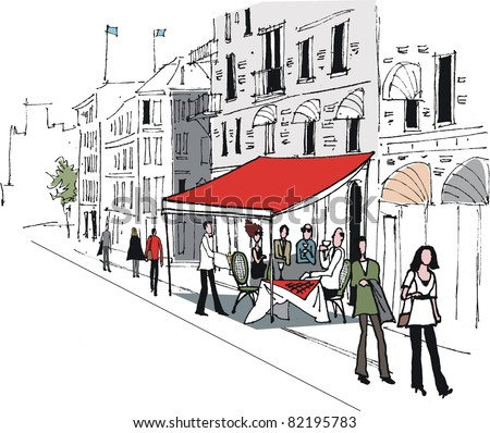Vector illustration of cafe street scene in Stockholm, Sweden - stock vector