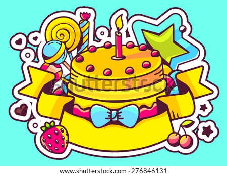 Vector illustration of cake with candle, sweets and ribbon on blue background with star and heart. Hand draw line art design for web, site, advertising, banner, poster, board and print.   - stock vector