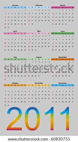Vector illustration of calendar 2011 - stock vector