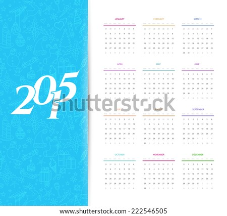 Vector illustration of Calendar for 2015 - stock vector