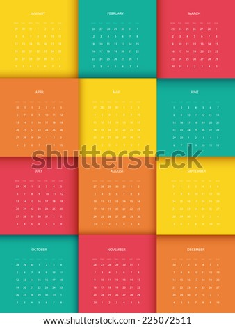 Vector illustration of Calendar for 2015 year - stock vector