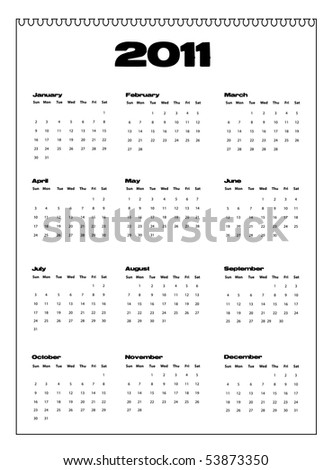 Vector illustration of calendar for year 2011. - stock vector