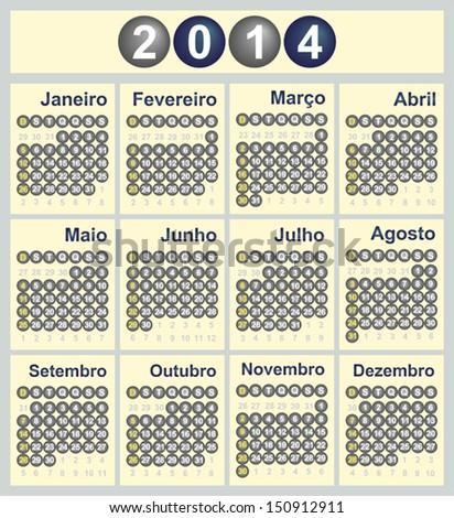 Vector illustration of 2014 Calendar in Portuguese - stock vector