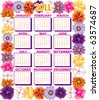 Vector illustration of 2011 Calendar with a Flower border. - stock vector