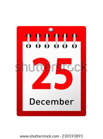 Vector illustration of calendar with Christmas date  - stock vector