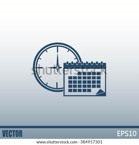 Vector illustration of calendar with clock  - stock vector