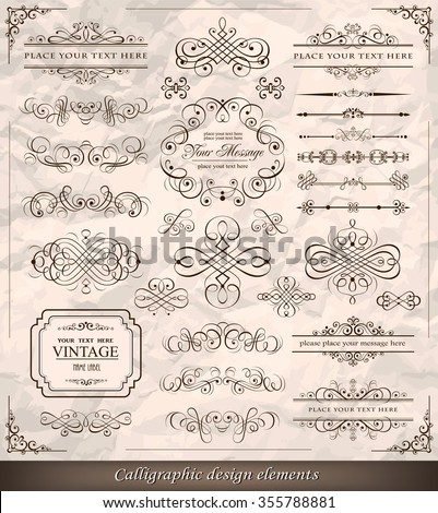 Vector illustration of calligraphic elements - stock vector