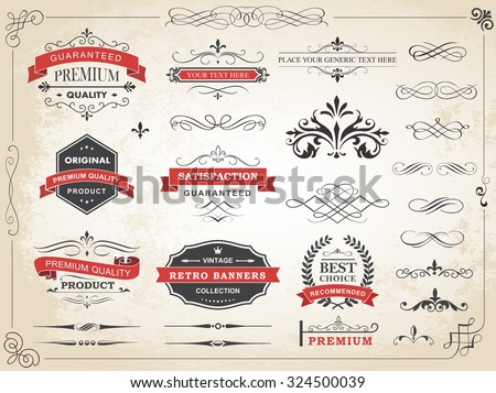 Vector illustration of calligraphic vintage label ornament divider vector design elements and page decoration./ Vintage Label Ornament Divider Vector/Vintage Label Ornament Divider Vector - stock vector