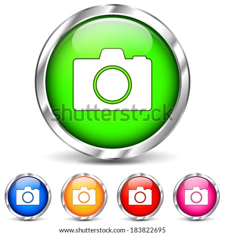 Vector illustration of camera chrome icons on white background - stock vector
