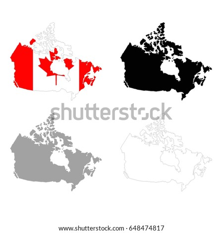 Vector Illustration Canada Map Flag Stock Vector - Canada map with flag