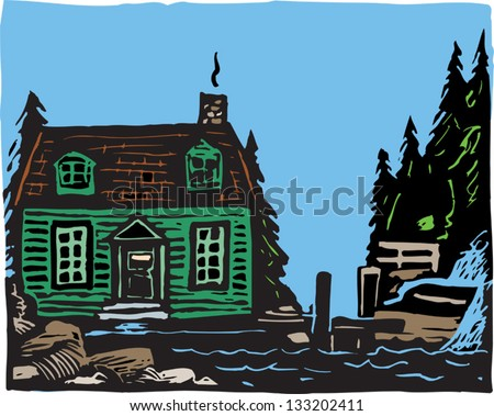 Vector illustration of cape cottage - stock vector