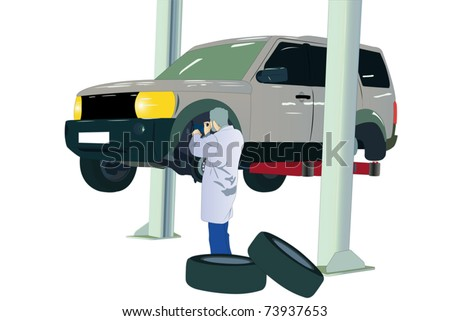 Vector illustration of car at the service center