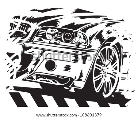 Vector illustration of car on white background.