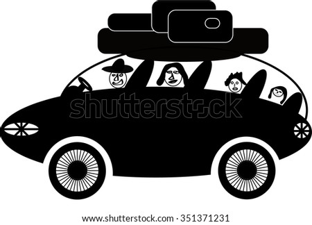 Vector illustration of car rides with a fun family