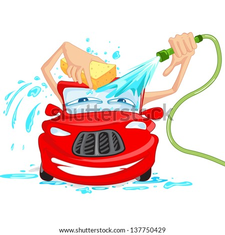 vector illustration of car washing with water pipe and sponge - stock vector