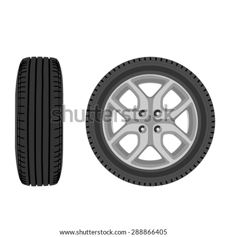 Vector illustration of car wheel front and side view. Transport wheel. Car tire