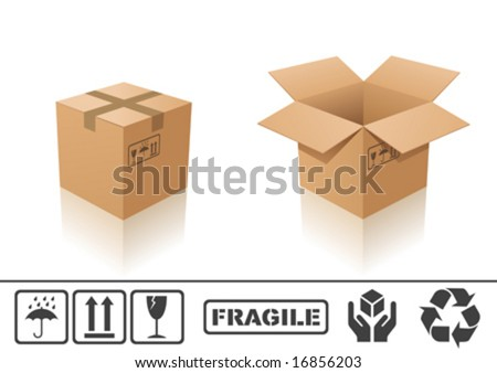 Vector illustration of cardboard box. Closed and open - stock vector