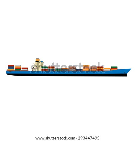 Vector illustration of cargo ship with containers. Ship container. Cargo container. International delivery  - stock vector