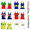 Vector illustration of Caribbean Tank Tops for men and women. - stock vector