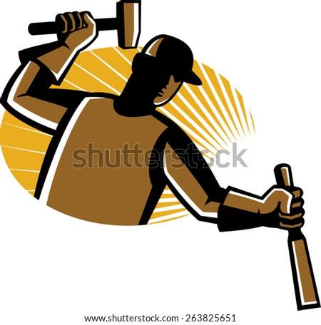 vector illustration of carpenter worker with hammer striking chisel set inside oval with sunburst. - stock vector
