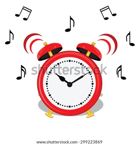 Vector illustration of cartoon alarm clock and music notes symbols. Classical red alarm clock icon. Wake up.  - stock vector