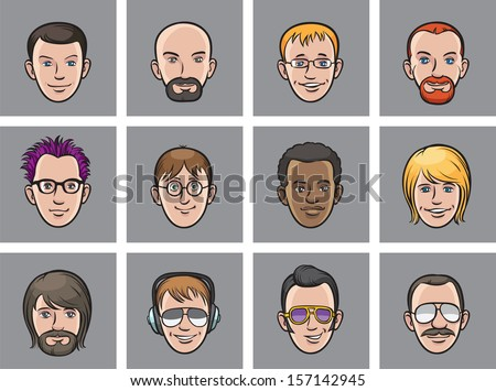 Vector illustration of Cartoon avatar men faces. Easy-edit layered vector EPS10 file scalable to any size without quality loss. High resolution raster JPG file is included. - stock vector