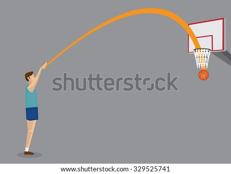 Vector illustration of cartoon basketball player shooting basketball directly into the hoop from a distance, scoring a three-point field goal.  - stock vector
