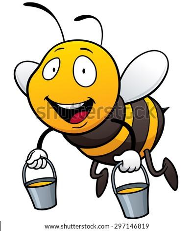 Vector illustration of Cartoon Bee holding honey bucket - stock vector