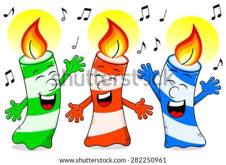 vector illustration of cartoon birthday candles singing a birthday song - stock vector