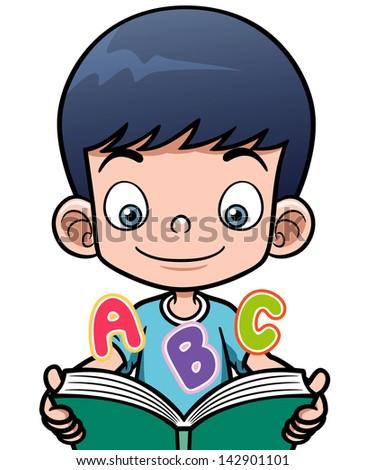 Vector illustration of cartoon boy reading a book - stock vector
