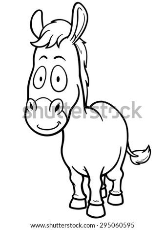 Vector illustration of Cartoon burro - Coloring book - stock vector