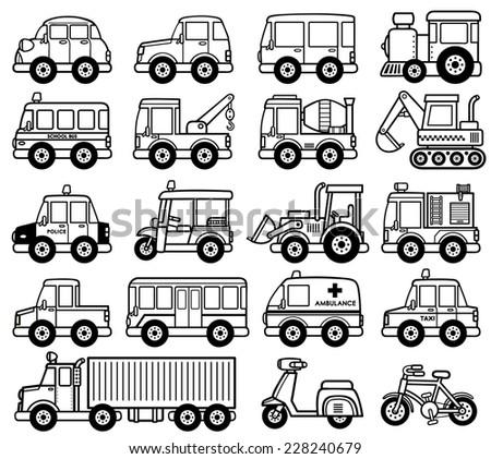 Vector Illustration of cartoon Car set - Coloring book - stock vector