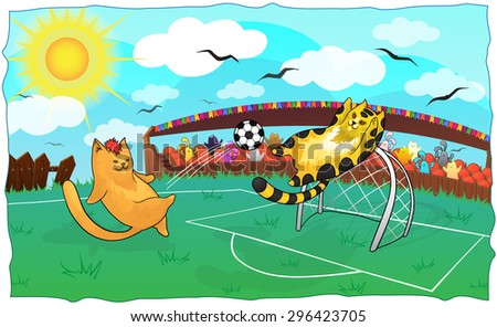 Vector illustration of cartoon cats playing soccer. Background with cute cats. Template for card.